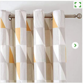Thermal Eyelet Curtains - Yellow and Grey, Dunelm
