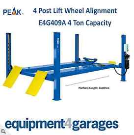 Brand New 4 Post Wheel Alignment Lift Ramp 4 Ton capacity with 4600mm platforms 1ph/3ph E4G 409A