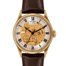 ROTARY gold plated skeleton AUTOMATIC WATCH. No batteries needed. Real luxury!