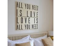 """""""All you need is love"""" wooden wall art panels Beatles song picture cream/black"""