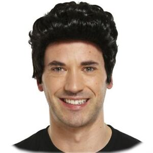MENS BLACK GREASE / ELVIS WIG 1950s 50s FANCY DRESS GREASER FANCY DRESS DANNY