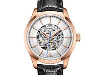 BRAND NEW Rotary Men's Mecanique Skeleton Automatic Watch Rose Gold Leather Strap RRP £259
