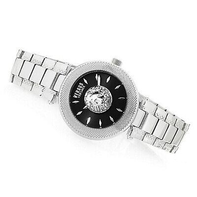 NEW Womens Versus Versace Brick Lane Bracelet Watch 40mm Silver w/ Black Dial