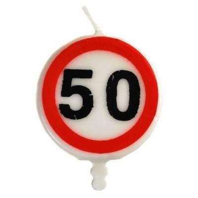 Kerze 50. Geburtstag für Torte Verkehrsschild Zahl 50 Party Deko 5cm Tortenkerze