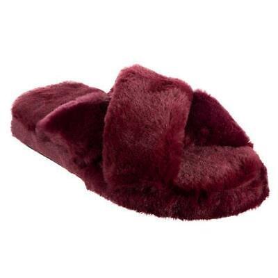 Isotoner Ladies Fuzzy Faux Fur HENNA CrossSlide Slippers Memory foam Sturdy Sole