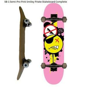 Easy People Skateboards Pro SB-2 &a;Semi-Pro SB-1 Natural-Stained-Graphic Completes Skateboard Deck Truck Wheel Bearin