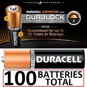 NEW 100 DURACELL AA BATTERIES 162133452 DURALOCK COPPERTOP EXP 12/2022 ASSORTED PACKS OF 100 BATTERIES TOTAL