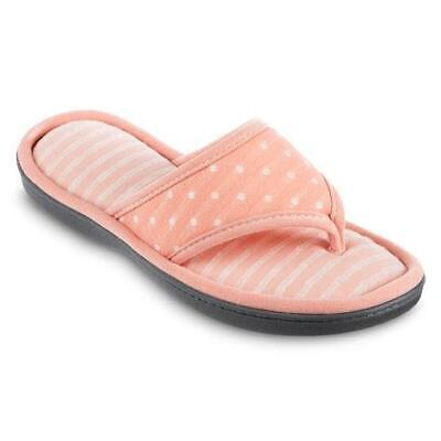 ISOTONER Women's Jersey Thong Coral Dot House Slippers Thong Style Sturdy Sole