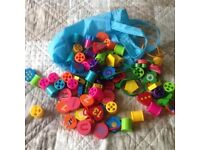 Mixed threading beads and reels.