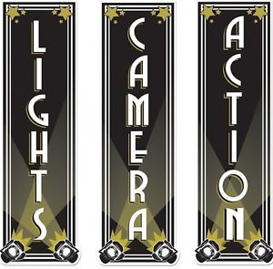 Hollywood Movie Night Themed Lights Camera Action Cutout Party Decoration