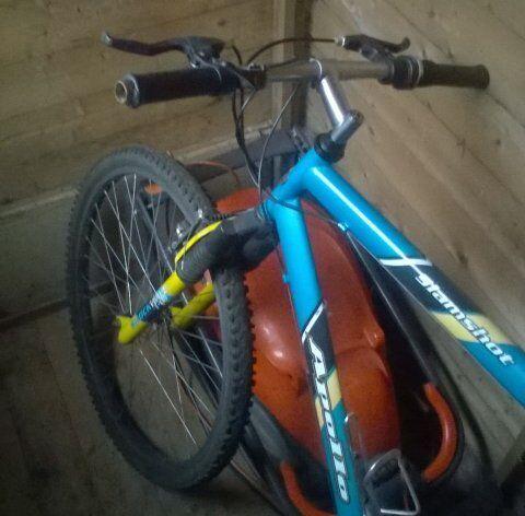 Blue Apollo mountain bike.