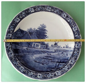 A Large Blue and White Delft Porcelain Plate