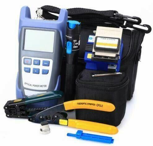 12pcs/set Fiber Optic FTTH Tool Kit with FC-6S Fiber Cleaver Optical Power Meter