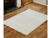 Cream shaggy rug