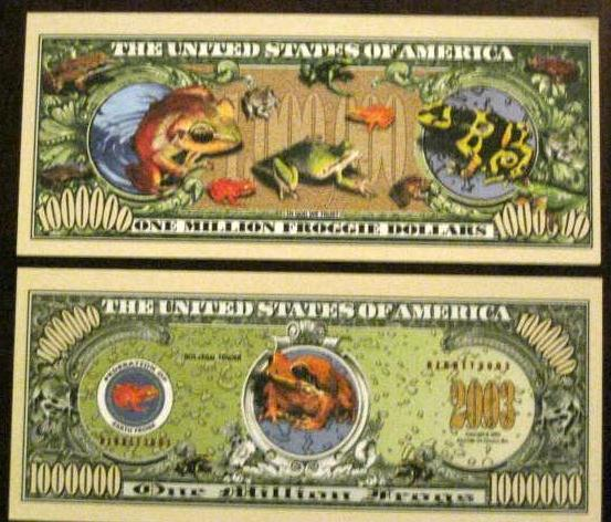 Super Bright Color Frogs 1 Million Dollar Bill Novelty Gift or Card Stuffer GIft