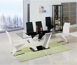 GLASS DINING TABLE SET - WITH CHAIRS ON SALE	(BD-1201)