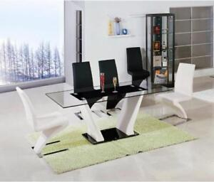 VALENTE GLASS DINING TABLE WITH 6 BONDED LEATHER CHAIRS