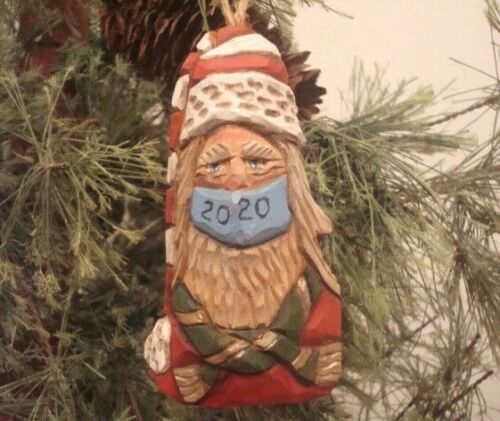 "4 "" HANDCARVE BASSWOOD HEIRLOOM  TRADITIONAL  SANTA W/  MASK ORNAMENT BY SALINAS"