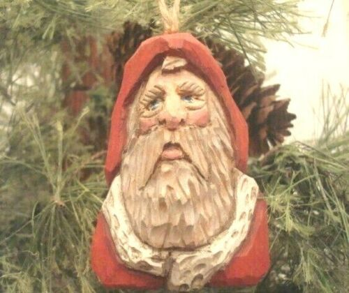 """3"""" Hand Carved Basswood Heirloom Primitive Traditional Santa Ornament By Salinas"""