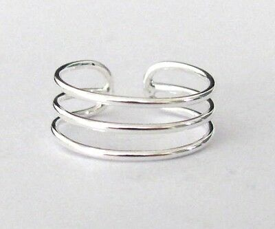 Sterling Silver spaced triple 3 wire band size medium adjustable toe ring