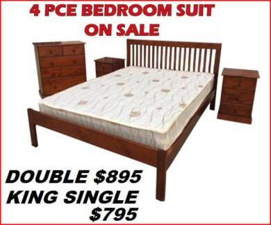 BEDROOM SUITE NEW SOLID TIMBER. DOUBLE $895. KING SINGLE $795.