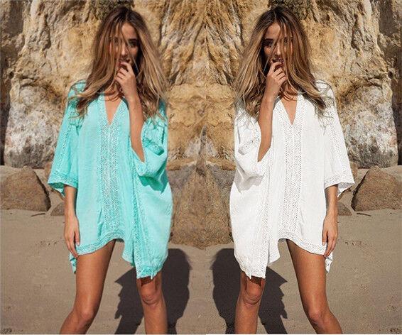 Women Lace Crochet Bikini Cover Up Swimwear Summer Beach Dre