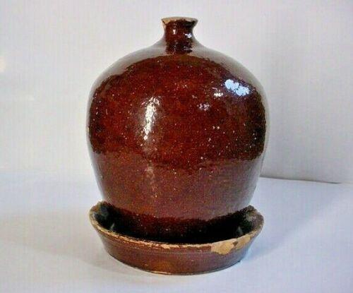 RARE 19th Century Stoneware CHICKEN WATER FEEDER HAND TURNED