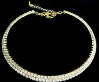 2 Row Wedding Special Occasion Crystal & Gold Plate Choker