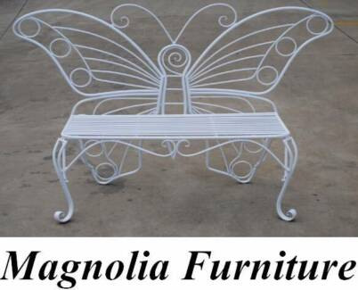 OUTDOOR GARDEN STEEL BENCH LOVE 2-SEATER BUTTERFLY WHITE