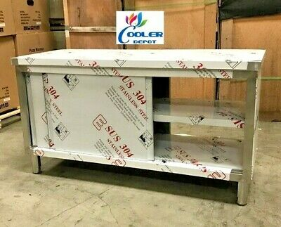 New Commercial Stainless Steel Work Prep Table Cabinet 60 X 24 Dual Slide Door
