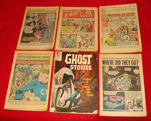 20 Vintage Coverless Comic Books 1950 to 1977 - Marvel / Dell & more