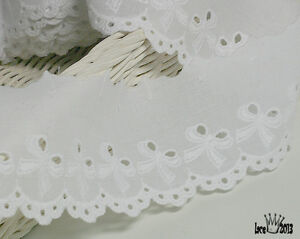 14Yds Embroidery scalloped cotton eyelet lace trim 2.2