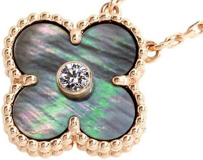 Van Cleef & Arpels 18K PG Vintage Alhambra Grey MOP Diamond Necklace Box Receipt