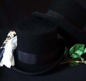 STEAMPUNK-GOTHIC-Victorian-Edwardian-100-WOOLFELT-High-Top-Dressage-Topper-Hat
