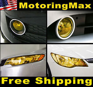 12-x-48-JDM-Yellow-Protective-Tint-Headlight-Fog-Lights-Vinyl-Film-Sheet