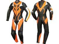 Black/Orange Motorbike Leather Racing Suit! 1 or 2 piece