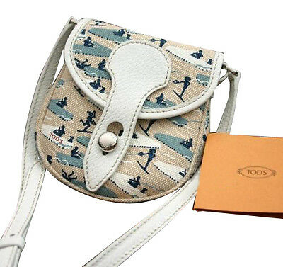 NEW Signed TODS Canvas CROSS BODY Messenger BAG HANDBAG