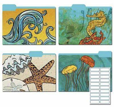 Karen Foster Design Decorative File Folders Ocean Escapade 8 Folders