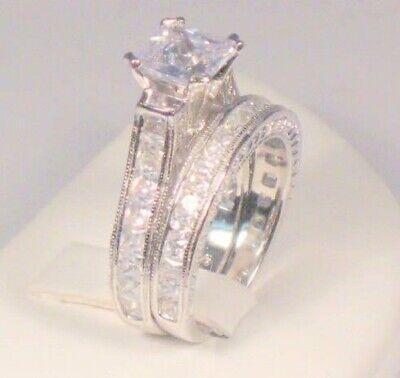 3.00 Ct Princess Diamond Vintage Style Engagement Wedding Ring set White Gold