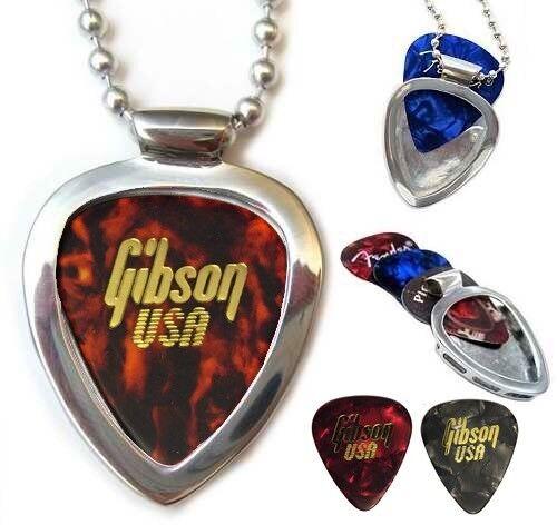 Vintage GIBSON USA Guitar Picks Set + Pickbay Guitar Pick Holder Necklace Set