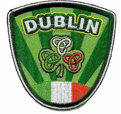 DUBLIN Ireland Embroidered Irish Shield Patch Badge wi/ shamrock tricolor crests