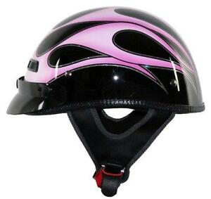 Vega XTS Half Helmet (Pink Flame, X-Small)