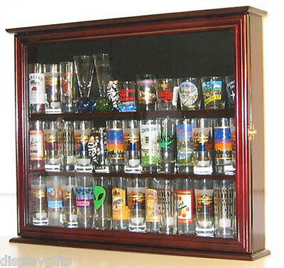 Tall Shot Glass Display Case Cabinet, Shooters holder Wall Shadow Box : SC04-MAH Tall Shot Glass