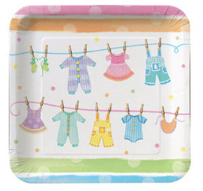 Baby Clothes Shower Party Dinner Plates (8) - Party - Baby Shower Plates