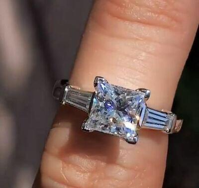 1.5Ct Princess Cut Diamond Solitaire Ring 14K White Gold Finish Baguette Accents