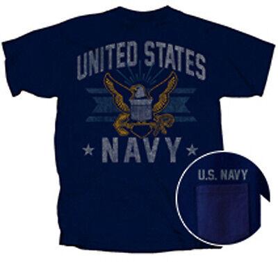 US Navy USN Vintage Emblem Pocket BLUE Adult (Emblem Adult T-shirt)