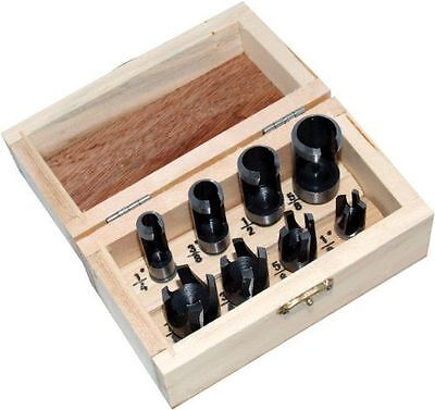 8pc Wood Plug Cutter Set Tapered Parallel Wooden Plugs Hole 14 38 12 58