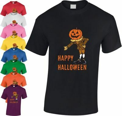 Pumpkin Man Happy Halloween Kinder T-Shirt Gespenstisch Cool Unheimlich Jugend ()