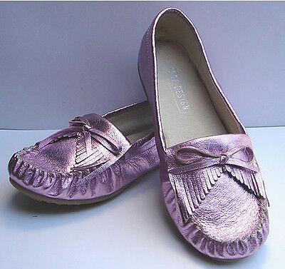 EDGE DESIGN - Women's Lavender Metallic Leather Moccasins - Loafer Shoe - -