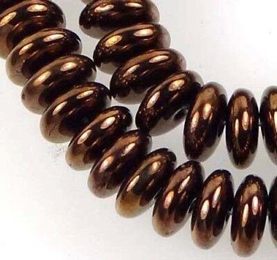 50 Czech Glass Rondelle Beads - Dark Bronze 6x2mm ()